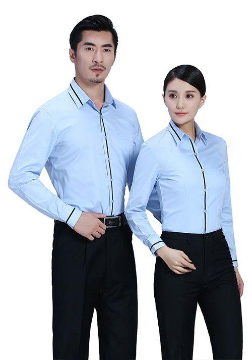 浅蓝拼黑条衬衫